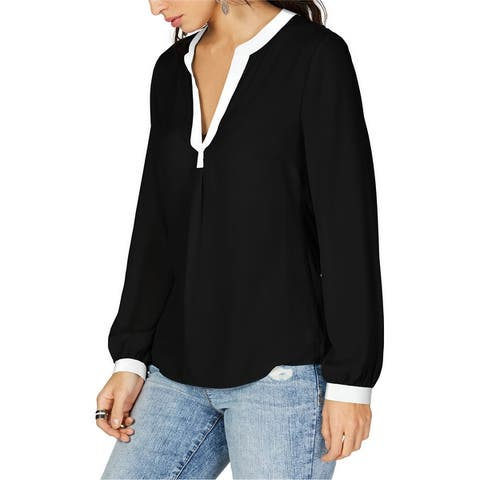 I-N-C Womens Contrast Trim Pullover Blouse