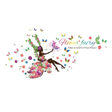 """Flower Fairy Design Wall Sticker Removable Decal for Bedroom - Colorful - 35.43"""" x 23.62""""(L*W)"""