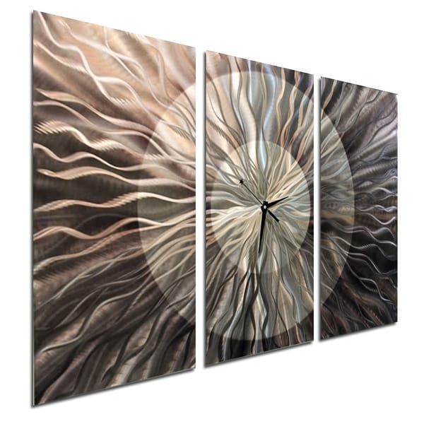 Statements2000 Silver / Charcoal 38-inch Abstract Metal Panel Wall Clock - Obsidian Burst