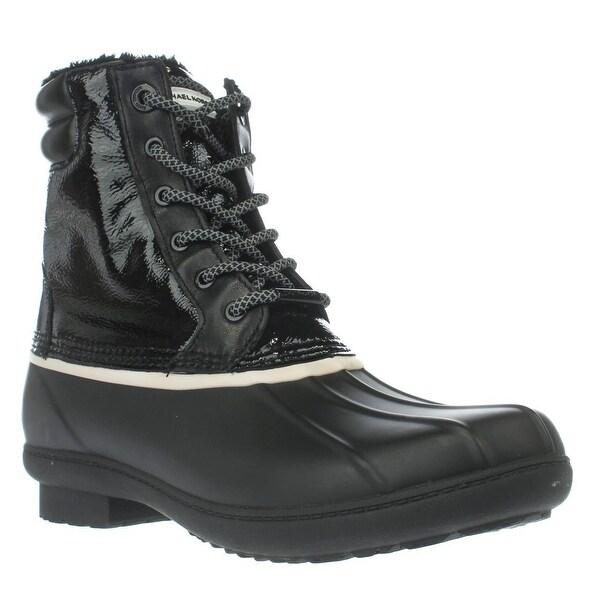 MICHAEL Michael Kors Easton Bootie Short Logo Rainboots, Black/White - 9 us / 40 eu