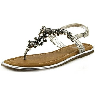 Carlos by Carlos Santana Marquee Women Open Toe Leather Gray Thong Sandal