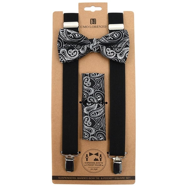 3pc Men's Black Banded Suspenders, Paisley Bow Tie and Hanky Sets - One Size Fits most