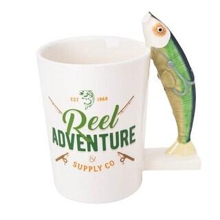 Sip Of Art Ceramic Fish Shaped Handle Mug, 12 Ounces