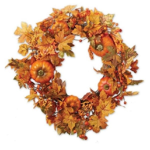 """22"""" Fall Leaves and Pumpkins with Berry Twigs Thanksgiving Wreath - Unlit"""