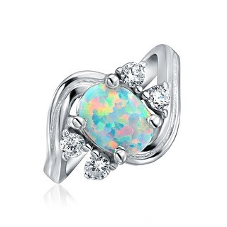 Bling Jewelry .925 Silver Vintage Style Synthetic Opal CZ Oval Engagement Ring - White