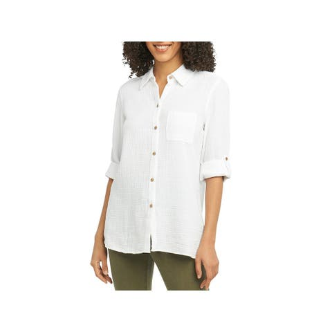 Foxcroft Womens Tamara Button-Down Top Cotton Gauze