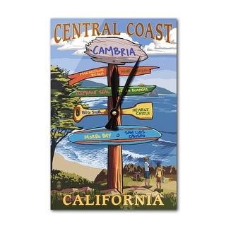 Cambria, California - Central Coast - Destinations Sign - Lantern Press Artwork (Acrylic Wall Clock)