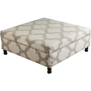 "40"" Light Gray and Ivory Upholstered Wool and Wooden Foot Stool Ottoman"