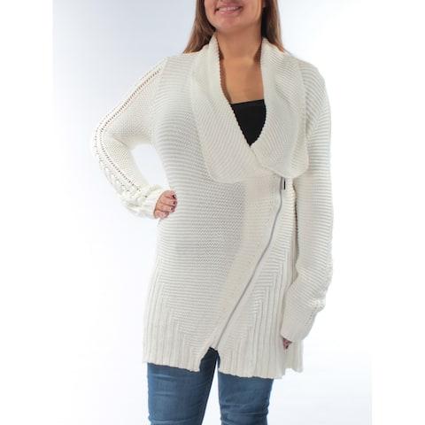 RACHEL ROY Womens White Zippered Sheer Long Sleeve V Neck Sweater Size: XL