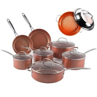 "Nuwave 12 pc. Duralon Ceramic Cookware Set with 11"" Covered Grill Pan"