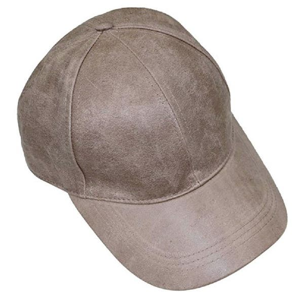 c17ffd37e August Hat Company Women's Distressed Vegan Leather Baseball Cap Beige -  One Size Fits Most