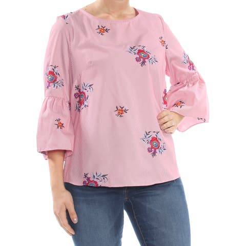 NINE WEST Womens Red Embroidered Tie Pinstripe Floral Bell Sleeve Top Size: L