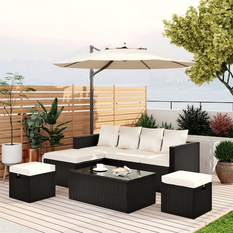 Merax 5-Piece Patio Furniture PE Rattan Wicker Sectional Lounger Sofa Set