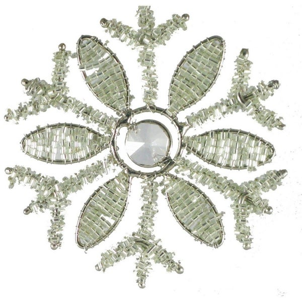 Set of 4 Intricate Elegant Silver Beaded Winter Snowflake Christmas Ornaments