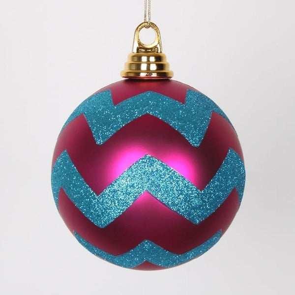 """Cerise Pink Matte with Turquoise Blue Glitter Chevron Christmas Ball Ornaments 4.75"""" (120mm)"""