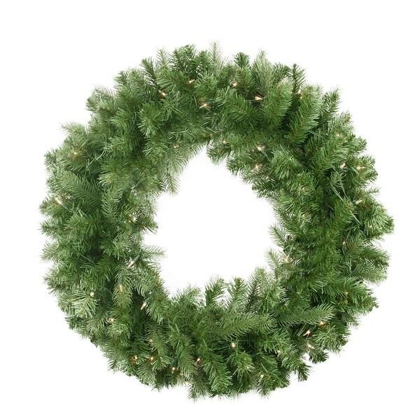 """30"""" Pre-Lit Noble Fir Artificial Christmas Wreath - Clear Lights - green"""