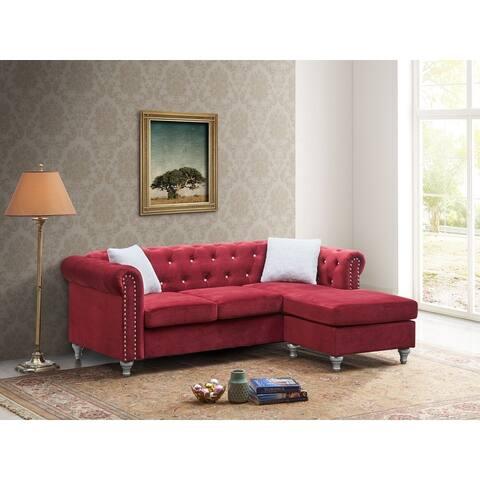 Raisa Microsuede Velvet Tufted Sofa with Chaise