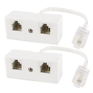 Unique Bargains 2 x White Double RJ11 6P4C to RJ11 6P4C 4 Pin Core Adapter Modem Data Cable Lead
