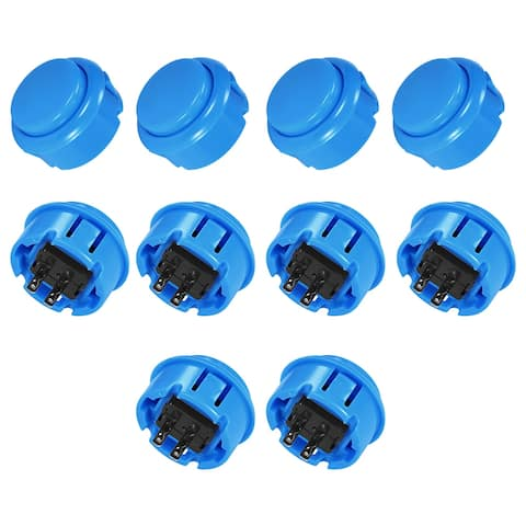 30mm Mounting Momentary Game Push Button Round for Video Games 6 colors 6pcs - Blue - 10pcs