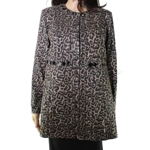 Insight Womens Jacket Brown Size 10 Leopard Print Grommet Detail