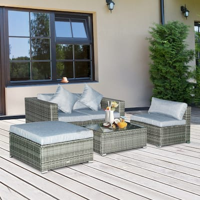 Outsunny 5-pc. Outdoor Cushioned Rattan Furniture Set