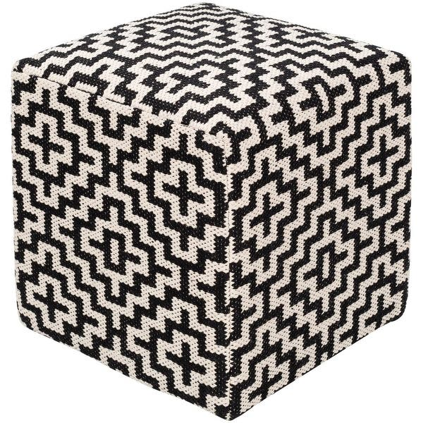 18 Black And White Geometric Square Pouf Ottoman Overstock 28696692