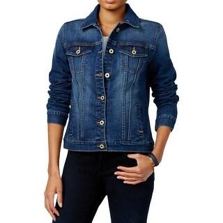 Tommy Hilfiger Womens Denim Jacket Embellished Button-Up