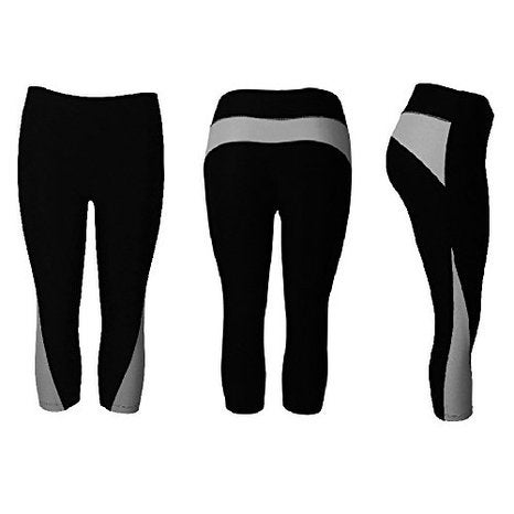 Women's Athletic Fitness Sports Yoga Pants Capri Small-Medium/Black-Grey