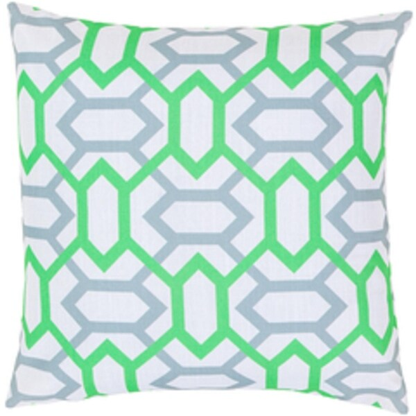 "18"" Neon Green and Gray Geometric Gems Decorative Throw Pillow"