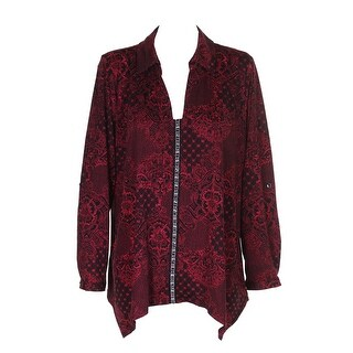 Ny Collection Plus Size Red Beaded Handkerchief Top 1X
