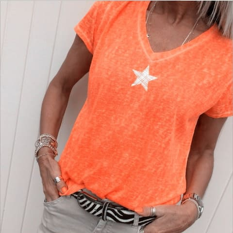 Star Print Plus Size Casual V-Neck Short-Sleeved T-Shirt