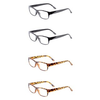 Classic Rectangle Reading Glasses 4 Pair Pack - Assorted