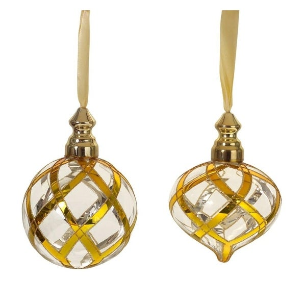 "Set of 2 Golden Weave Christmas Glass Ornaments 5"" - GOLD"