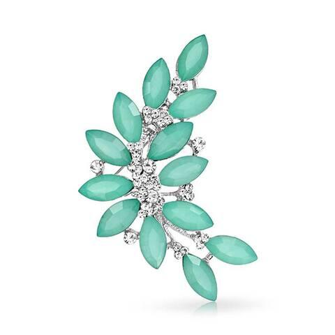 Fashion Large Aqua Green Marquise Crystal Statement Leaf Brooch Pin