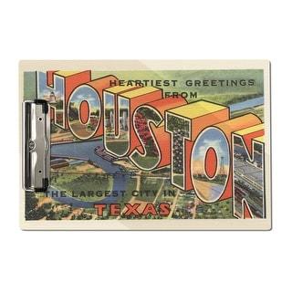 Houston, Texas - Large Letter  - Vintage Halftone (Acrylic Clipboard)
