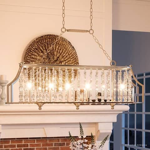 """Luxury Moroccan Island/Linear Chandelier, 13.75""""H x 38""""W, with Shabby Chic Style, Antique Silver Finish by Urban Ambiance"""