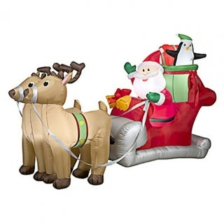 Gemmy 36855 Christmas Inflatable Santa with Red Sleigh, 5'