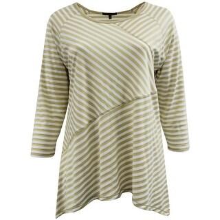 Women - Plus Size Asymmetrically Striped Design Fashion Blouse T-Shirt Knit Top Tan