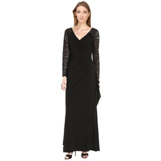 Alex Evenings Embellished Lace Faux Wrap Long Sleeve Evening Gown Dress