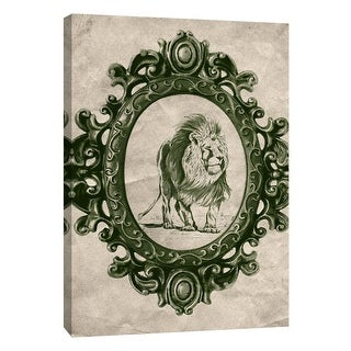 "PTM Images 9-105911  PTM Canvas Collection 10"" x 8"" - ""Framed Lion in Evergreen"" Giclee Lions Art Print on Canvas"