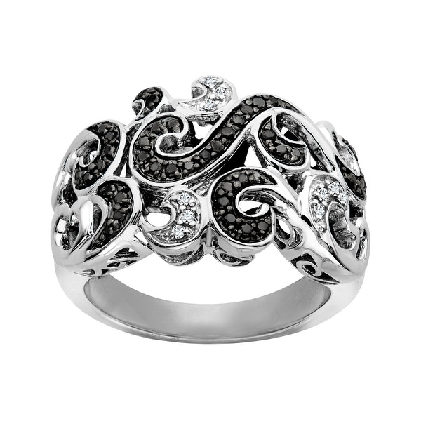 1/4 ct Black and White Diamond Wave Ring in Sterling Silver