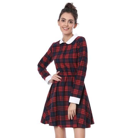Allegra K Women Contrast Peter Pan Collar Above Knee Check Dress