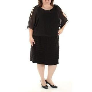 R&M RICHARDS $109 Womens 1064 Black Beaded Pleated Dress 22W Plus B+B