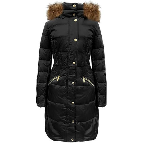 Michael Kors Womens Black Down Coat with Hood