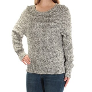 FREE PEOPLE Womens Gray Knit Heather Long Sleeve Jewel Neck Casual Sweater Size L