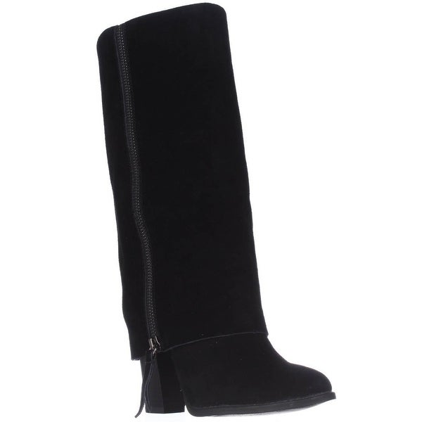 I35 Johanna Tall Foldover Mid Calf Fashion Boots, Black