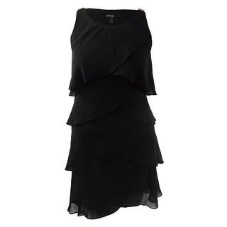 Style & Co. Women's Tiered Chiffon Dress - Black Diamond