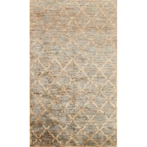 """Trellis Moroccan Oriental Contemporary Area Rug Hand-knotted Carpet - 5'0"""" x 8'1"""""""