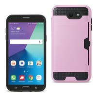 Reiko Samsung Galaxy J7 V (2017) Slim Armor Hybrid Case With Card Holder In Pink