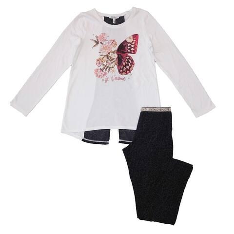 Jessica Simpson Girls 2-Piece Set Animal Print Long Sleeve Shirt & Leggings - Medium 10/12